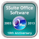 Screenshot of our 10th anniversary SSuite Office Logo, Happy New Year 2013.