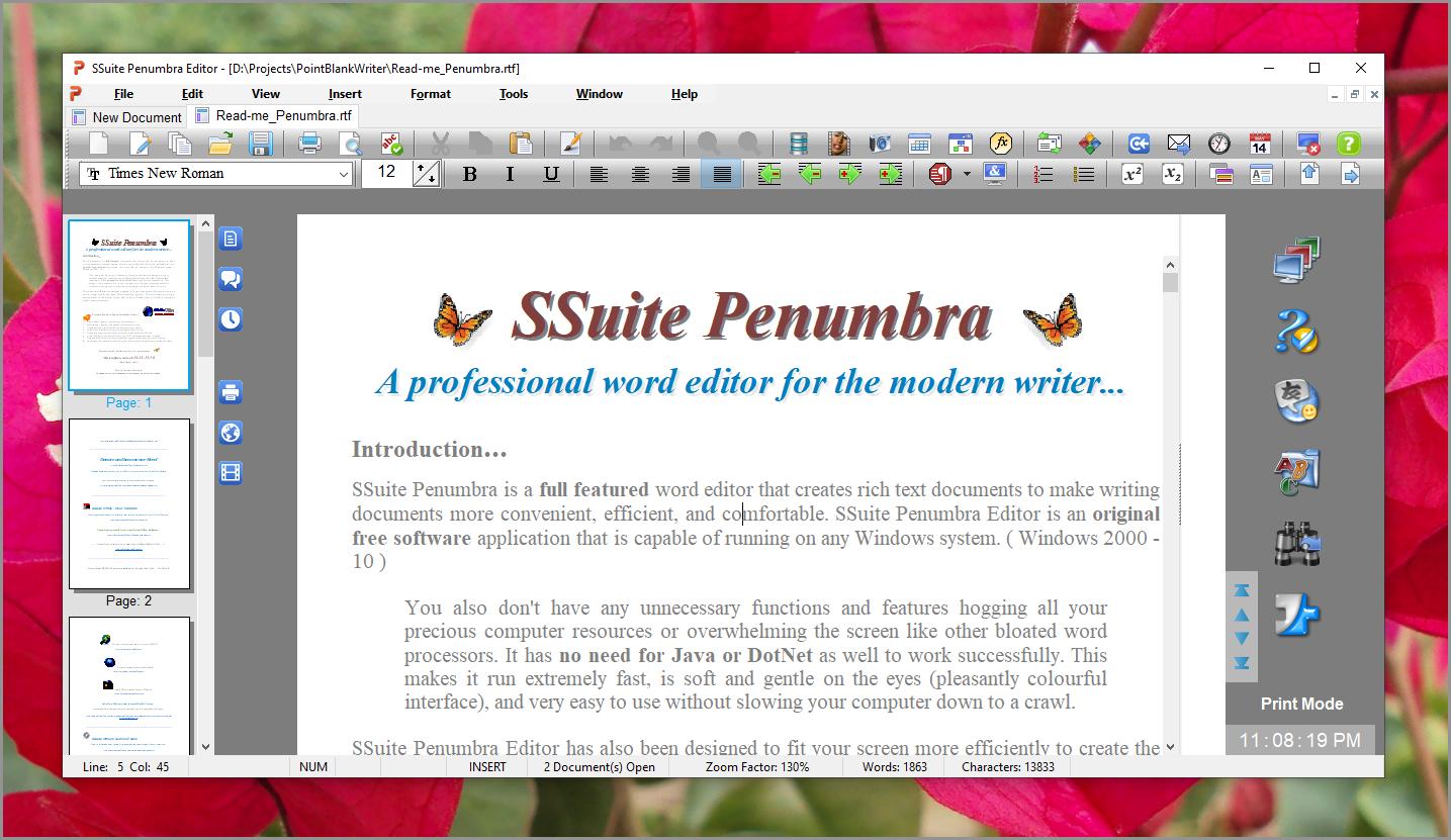 SSuite Penumbra Editor full screenshot