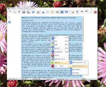 This writer�s tool has just enough functionality to start you on writing that important novel, short-story or article, without any bells and whistles to distract you. Get writing from the first moment you start the application. It has all the important functions and text formatting needed to get you busy. It also has custom page settings for easier viewing of your document. Keep the cursor at eye level for best focus and writing. Conforms to a full page size for best viewing of script. Full statistics are visible on the status bar, keeping you abreast of your text document as you type. There is also no java or .Net required to run this application, keeping it very small and portable and very useful. It has all the necessary editing short-cut keys for power users. See the blue question mark for more info{F1-key}.